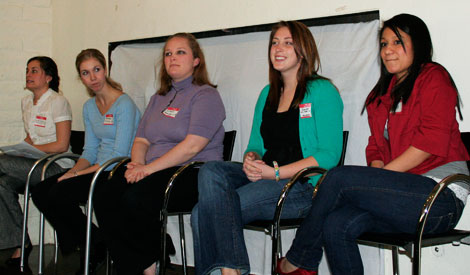 (From left to right) Kristin Burstedt, Andrea Eachus, Colleen Fisher, Karen Giroux, and Ana Solano talk about their Jan Term Christian Service Internship placements at a Feb. 17 event in Delphine Lounge.