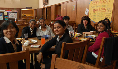 Visiting business students from India dine in Saint Mary's Oliver Hall.