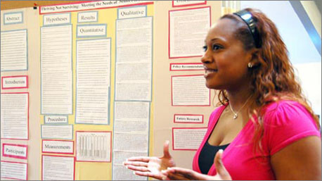 Psychology major Ashton Smith talks about her survey research on quality of life issues in senior-citizen housing.