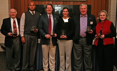 Alumni Award winners Bob Kozlowski '50, Joshua Dennis (accepting for Dr. John Dennis), Michael Johnson '87, Erin Gilbert-Coates '02, George Schmitt '65 and Clare Schmitt.