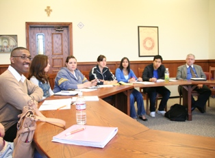 Members of David Gentry-Akin's theology course discuss Pope John Paul II's <i>Ex corde Ecclesiae</i> during the Episcopal Lecture and seminar on April 5.