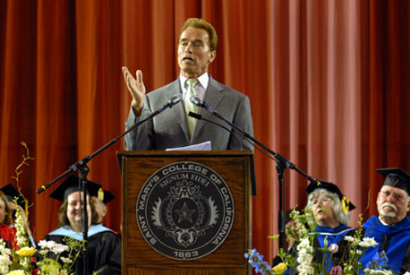 Gov. Arnold Schwarzenegger speaks at the SEED commencement.
