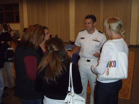 Lt. Andy Baldwin, M.D. discusses Naval medicine careers with students at an Oct. 1 session in the Soda Center.