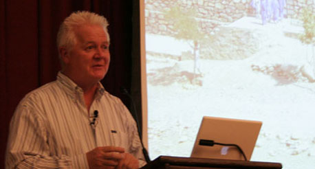 Budd MacKenzie discusses Trust in Education's work in Afghanistan during a Jan. 15 event in the Soda Center.