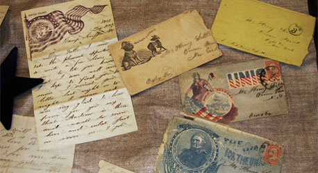 Some of Union soldier Forrest Little's letters to his family in New York are in a display case in the library. The library's new online archive includes digitized copies and transcriptions of these letters.