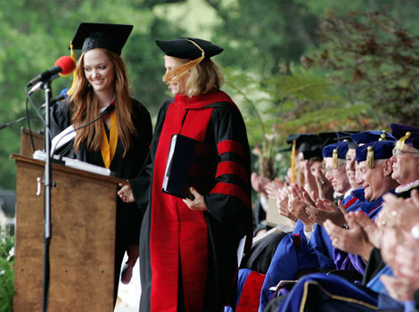 2009 valedictorian Suzanne Guese and Provost Bethami Dobkin.