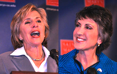 U.S. Senator Barbara Boxer (left); Republican challenger Carly Fiorina (right)