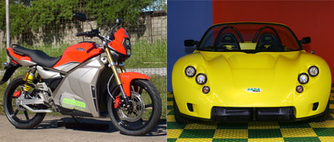 Left: the Electric Motorsports Superbike. Right: the Saba Carbon Zero Roadster.