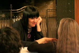 Eve Ensler (pictured here during the book signing at Saint Mary's) delivered the Women's History Month Keynote Address on March 25.