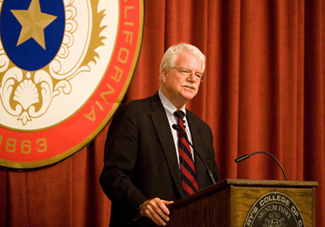Rep. George Miller addresses students, faculty, staff and others during a town hall meeting at Saint Mary's College.
