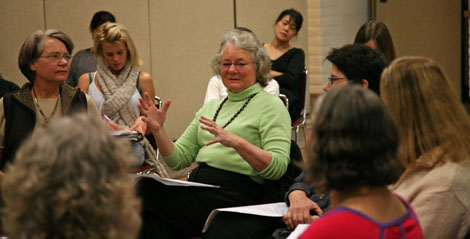 Kathy Roper (center) was one of 10 professors on a Women's Studies Panel at the Soda Center on Nov. 12.