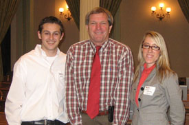 Jordan Raya '09, state Assemblyman Mark DeSaulnier, D-Concord, and Katie Anthony '11 at the State Capitol on March 11.