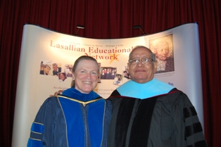 Vice President for Mission Carole Swain with Brother Jose Cervantes, the 2008 De La Salle Week Convocation honoree