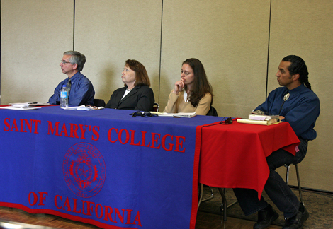Professors Carl Guarneri, Phylis Martinelli, Mary Volmer and Juan Avila Hernandez discussed American Western myths at a Community Time panel on Nov. 5.